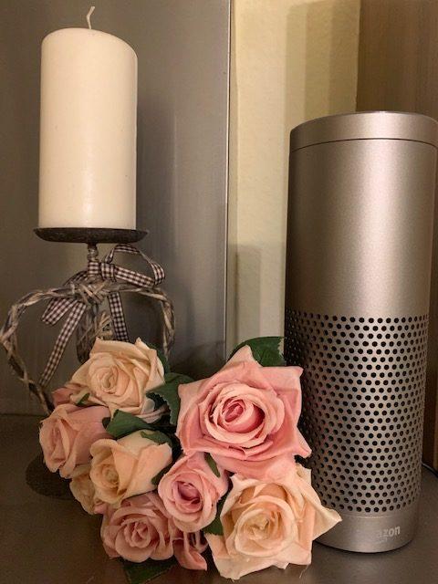 Amazon Alexa Echo Gerät als Dekoobjekt in der Küche