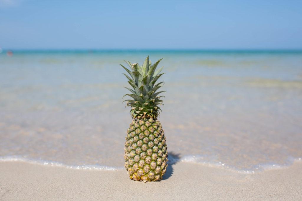 Ananas am Meeresstrand