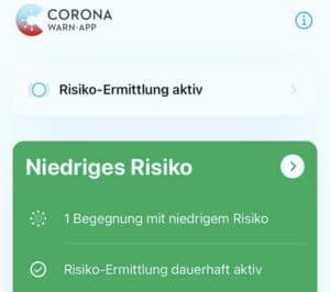 Niedriges Risiko Corona-Warn-App